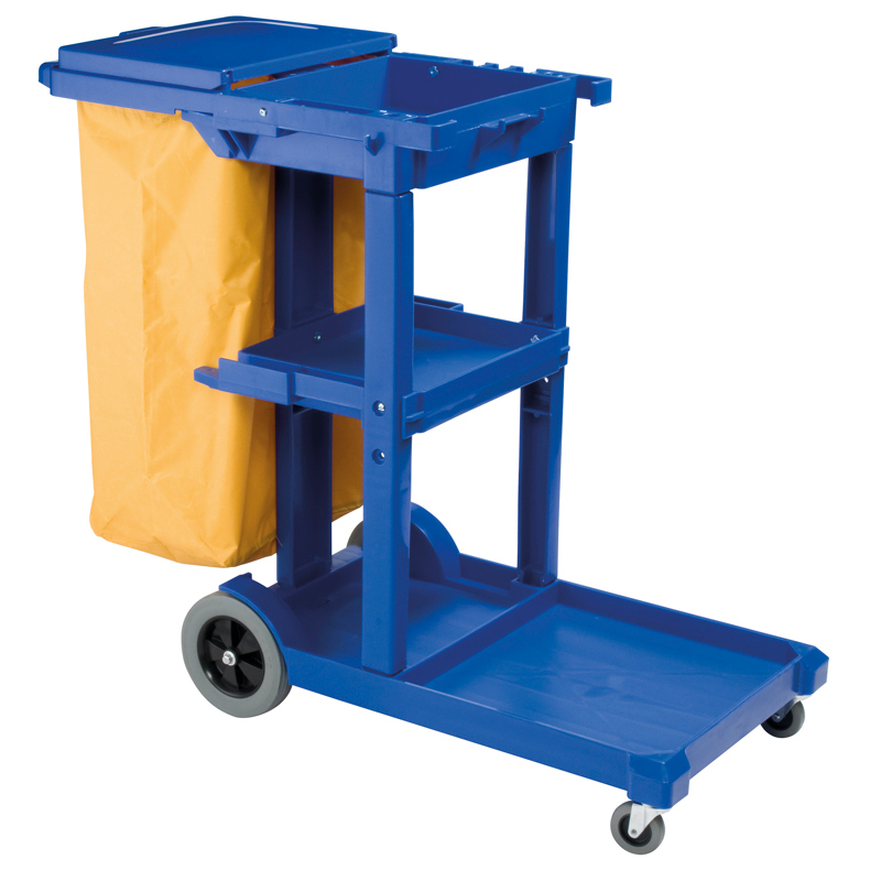 Janitor Trolley Dark Blue with Lid